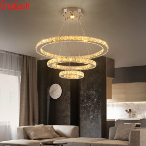 Image 3 - Luxury 3 Rings Crystal Chandeliers Stainless Steel Led Mordern Pendant Lamp Home Deco Hanging Lamp Suspension Luminaire Avize