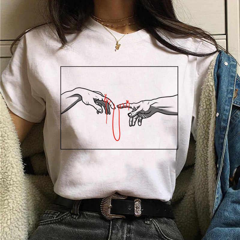 미적 t 셔츠 vaporwave 미켈란젤로 여성 패션 새로운 하라주쿠 tshirt 캐주얼 한국 스타일 그래픽 힙합 t-셔츠 여성