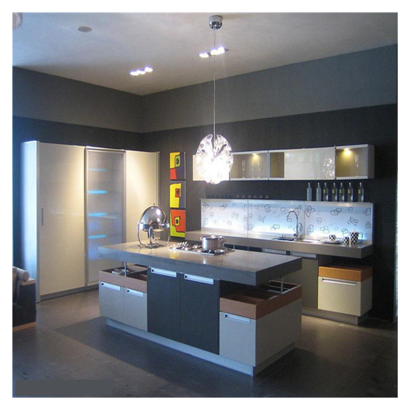 Modern High Gloss Grey Lacquer Kitchen