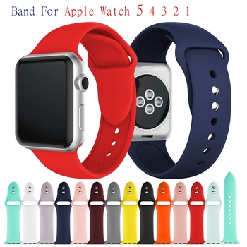 цена на Sport Silicone Bracelet Band for Apple Watch Band Series 5 4 40mm 44mm Wrist Strap for Iwatch 3 2 1 38mm 42mm Bands