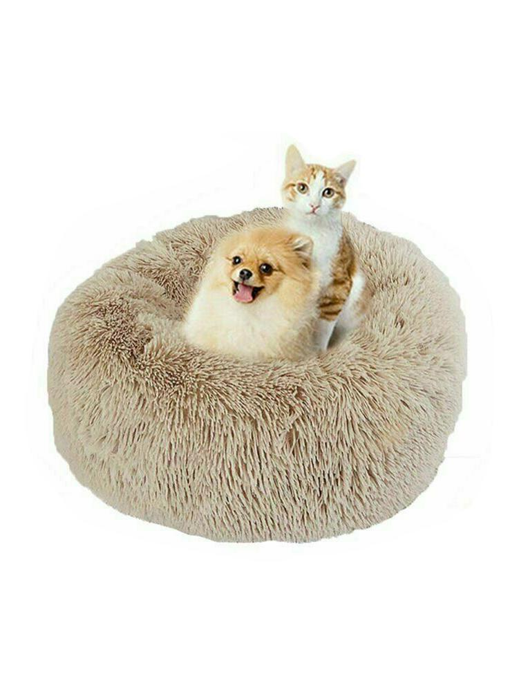 Round Plush Cat Bed House Soft Long Plush Cat Bed Round Pet Dog Bed For Small Dogs Cats Nest Winter Warm Sleeping Bed Puppy Mat in Cat Beds Mats from Home Garden