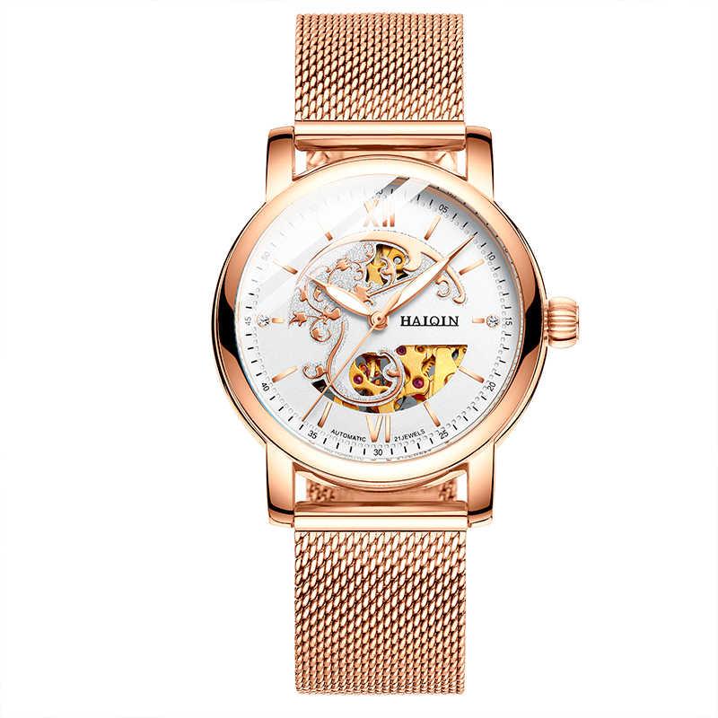 HAIQIN squelette femmes Montre mécanique marque de luxe dames en cuir robe Montre étanche femelle automatique horloge Montre Femme