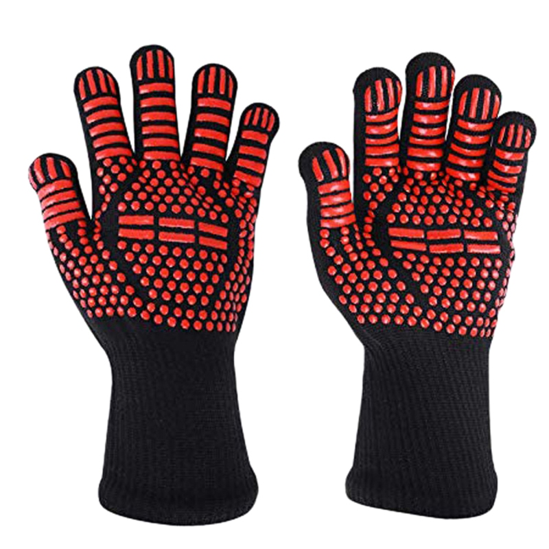 Heat Resistant BBQ Gloves   1 Pair Of Oven Mitts For Cooking Grilling Frying And Baking   Long Size For Extra Forearm Protecti|Household Gloves| |  - title=