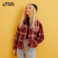 ELFSACK Red Plaid Single Button Straight Wool Coats Women 2020 Winter Leather Patchwork Long Sleeve Casual Ladies Warm Outwear