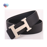 Nuleez H togo leather belt men golden and silver hardware real leather waist belt suit belt business style man classical