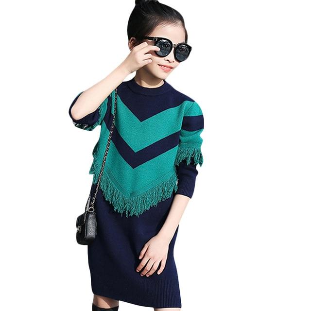 Kids Sweater Dress Spring Autumn Knitted Girls Dress Long Warm Teenage Princess Dress 6 8 10 12 14 Kids Girls Clothes