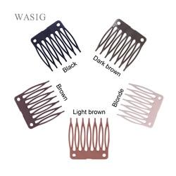 50 pçs/lote peruca clips e pentes de plástico para fabricação de perucas cheia do laço/parte dianteira do laço preto marrom cor muitos em estoque Por Atacado
