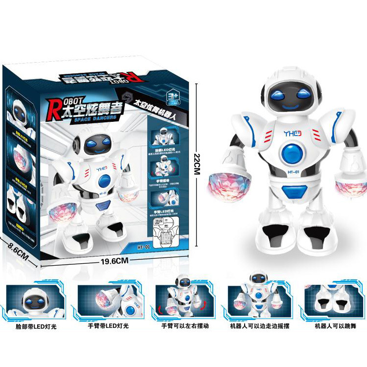 Hot Sales Ht-01 Children'S Educational Electric Dancer Space Robot Light Included Light Music Hot Selling Toy