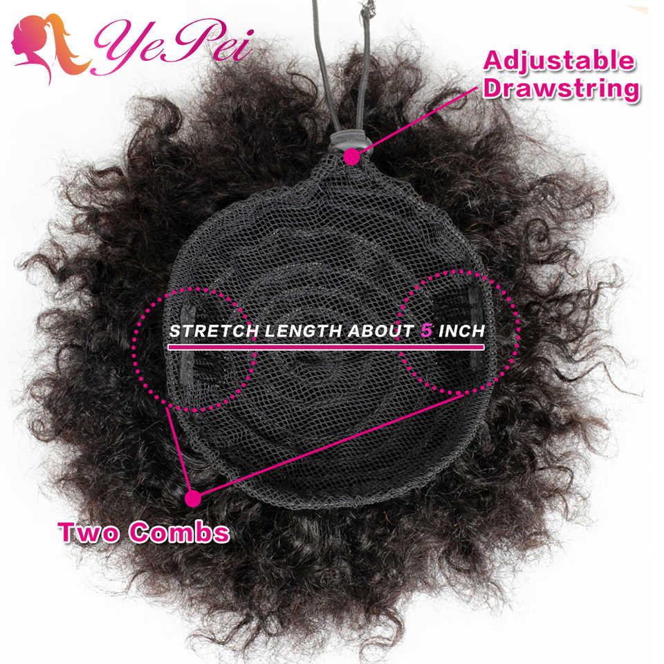 6 cal krótki afro Puff sznurkiem kucyk ludzkie włosy kręcone dopinki na klips przyrząd do koka z włosów Chignon Hairpiece możesz kupić 2 sztuk