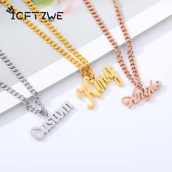 Personalized Fashion Custom Name Pendant Necklace For Women Stainless Steel Gold Rose customized Jewelry Accessories Gift
