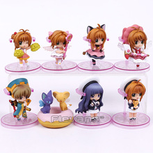 Card Captor Sakura Kinomoto Sakura Daidouji Tomoyo Li Syaoran Kero Chan Mini PVC Figures Toys Dolls 8pcs/set