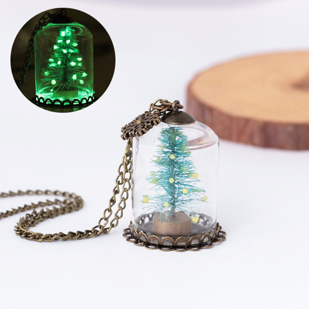 Christmas Tree Glowing Necklace Vintage Snowflake Glass Wishing Bottle Unisex Charm Party Accessories Gift
