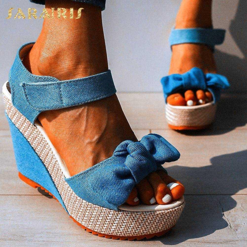 SARAIRIS High heels Drop schiff süße bogen denim freizeit plattform keile sandalen weiblichen sommer schuhe frauen