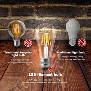 Image 4 - LED Filament ampul E27 Retro Edison lamba 220V E14 Vintage C35 mum ışığı kısılabilir G95 küre ampul kısılabilir aydınlatma ev dekor