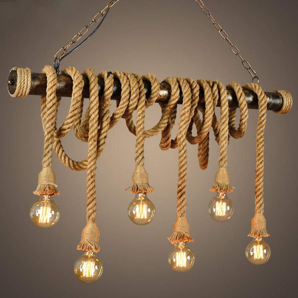 Vintage Pendant Light Hemp Rope Pendant Lamp Hanging Lights Chandelier Ceiling Lamp Edison E27 For Bedroom Restaurant Cafe Bar
