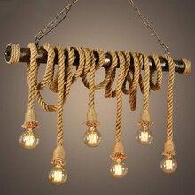 Lámpara colgante de cuerda de cáñamo Vintage lámpara colgante lámpara Edison para techo E27 para dormitorio restaurante cafetería Bar