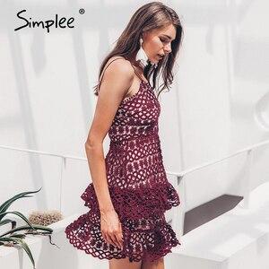 Image 4 - Simplee sexy decote em v bordado mulheres vestido, de alça espaguete oco plissado verão vestido elegante festa mini vestido