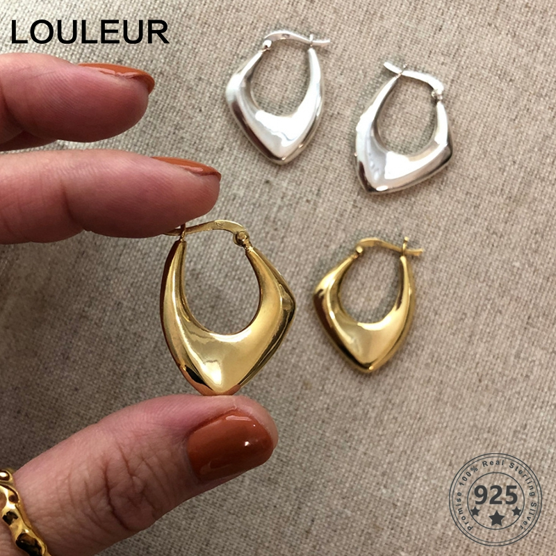 LouLeur 925 Sterling Silver Irregular Earrings For Women Nordic Style Minimalist Big Earrings For Party Female Luxury Jewelry