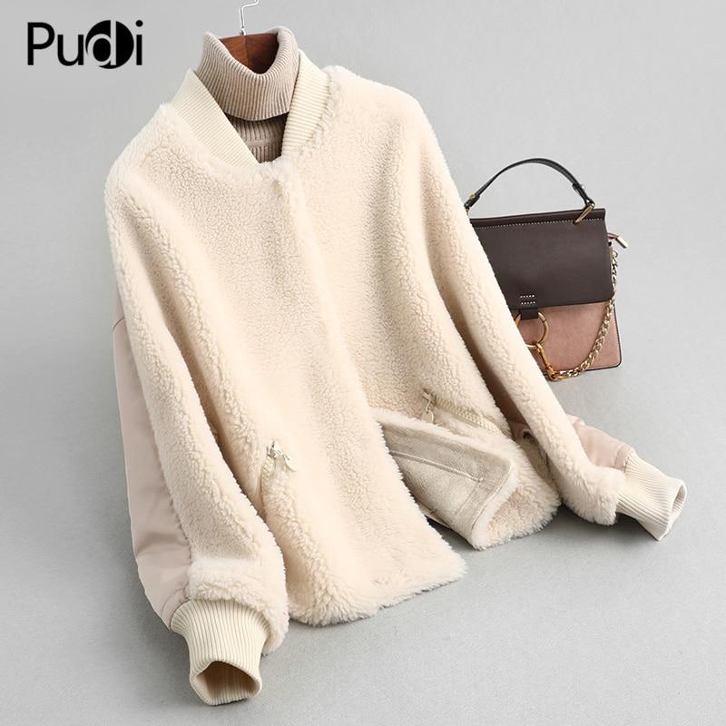 PUDI women winter real wool fur coat jacket female girl sheep shearing coats lady fur parka jacket over size parkas A59352