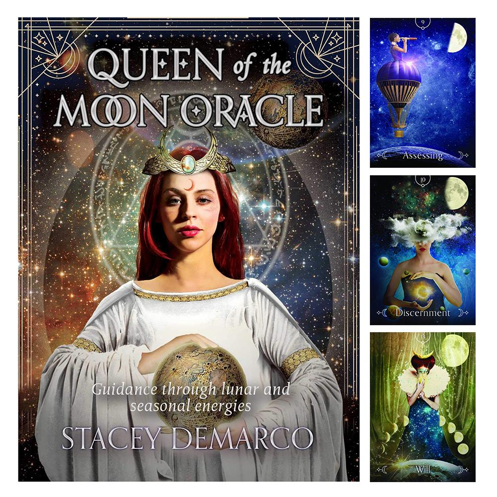 44PCS Queen Of The Moon Oracle Tarot Cards Durable Fun Tarot Game Cards For Party Home Holiday Use image