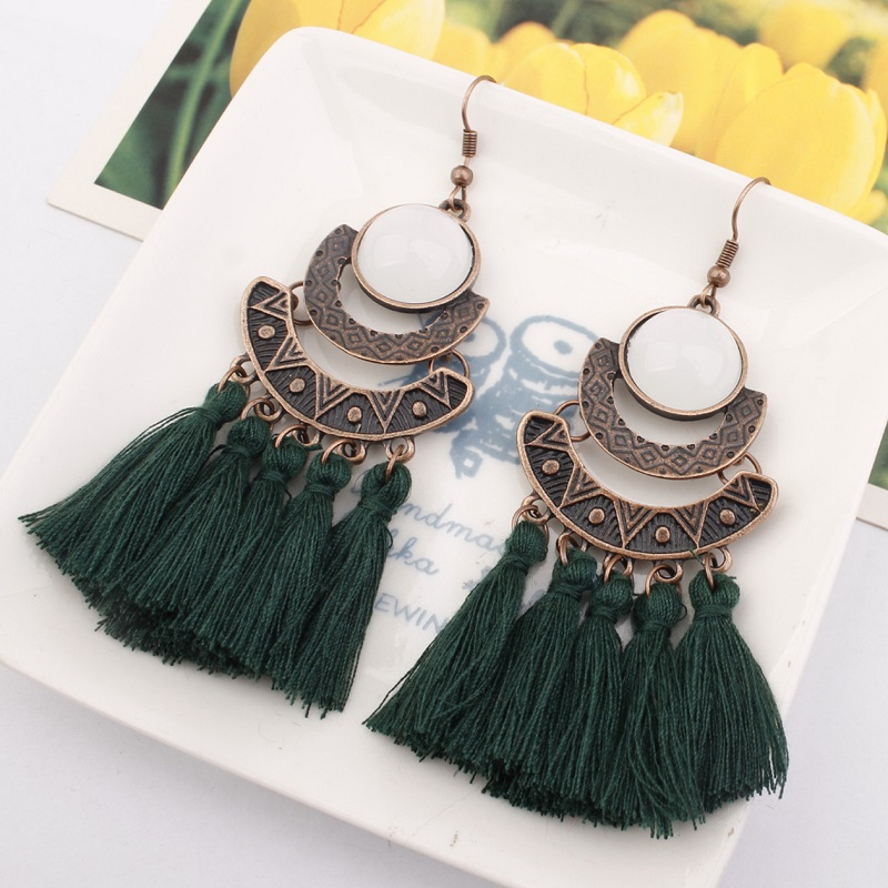 Exknl 25 Colors Tassel Earrings Women Long Fringe Drop Earrings Statement Bohemian Boho Hanging Dangle Earrings Accessories