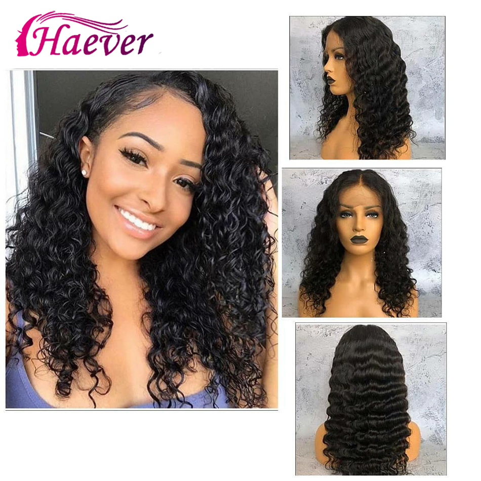 Haever Deep Wave 13x6 Human Hair Wigs Lace Frontal Closure Wig For Black Women Natural PrePlucked Peruvian Remy 150% Virgin Hair