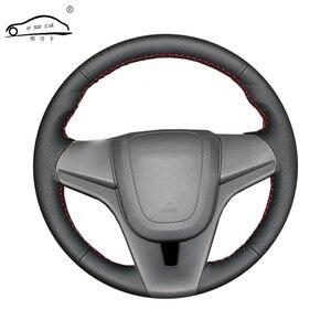 Image 1 - Artificiale ruota auto volante In Pelle treccia per Chevrolet Cruze 2009 2014 Aveo 2011 2014/Custom made Sterzo Copertura della ruota di copertura