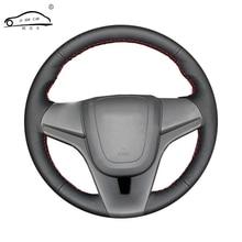 Suni deri araba direksiyon örgü için Chevrolet Cruze 2009 2014 Aveo 2011 2014/Custom made JANT KAPAĞI