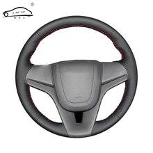Volante de carro em couro artificial, trança para chevrolet cruze 2009 2014 aveo 2011 2014/personalizada capa da roda