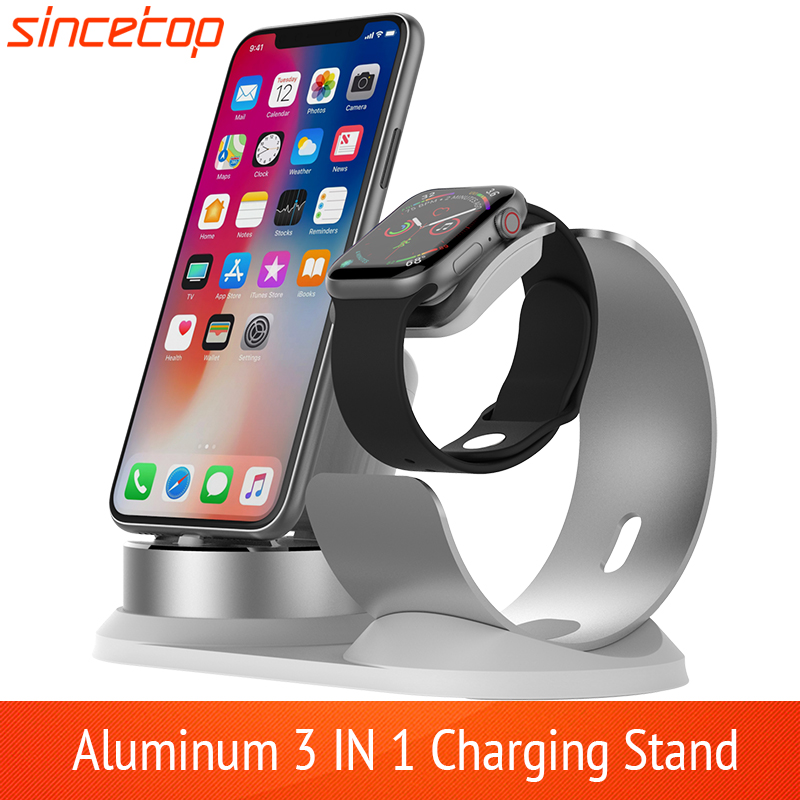 3 In 1 Aluminum Charger Stand For Apple Watch Charging Dock Station For IPhone 11pro/Xs/Xs Max/Xr/8 Plus/7/6s For Airpods 2 Pro