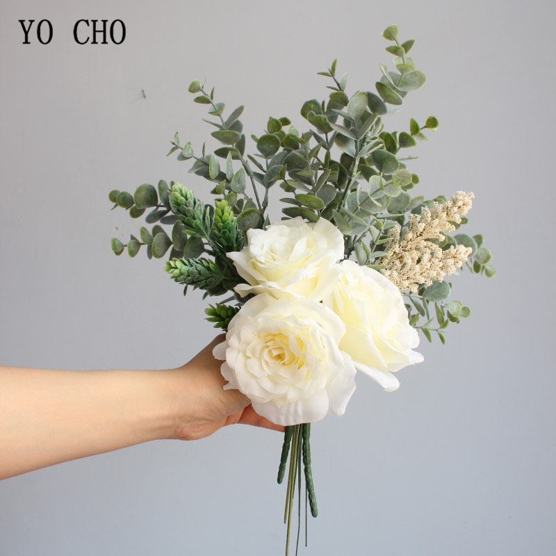 YO CHO Dropship Bridal Wedding Bouquet Artificial Silk Rose Wedding Flower Champagne Vanilla Spike Succulents Eucalyptus Leaves