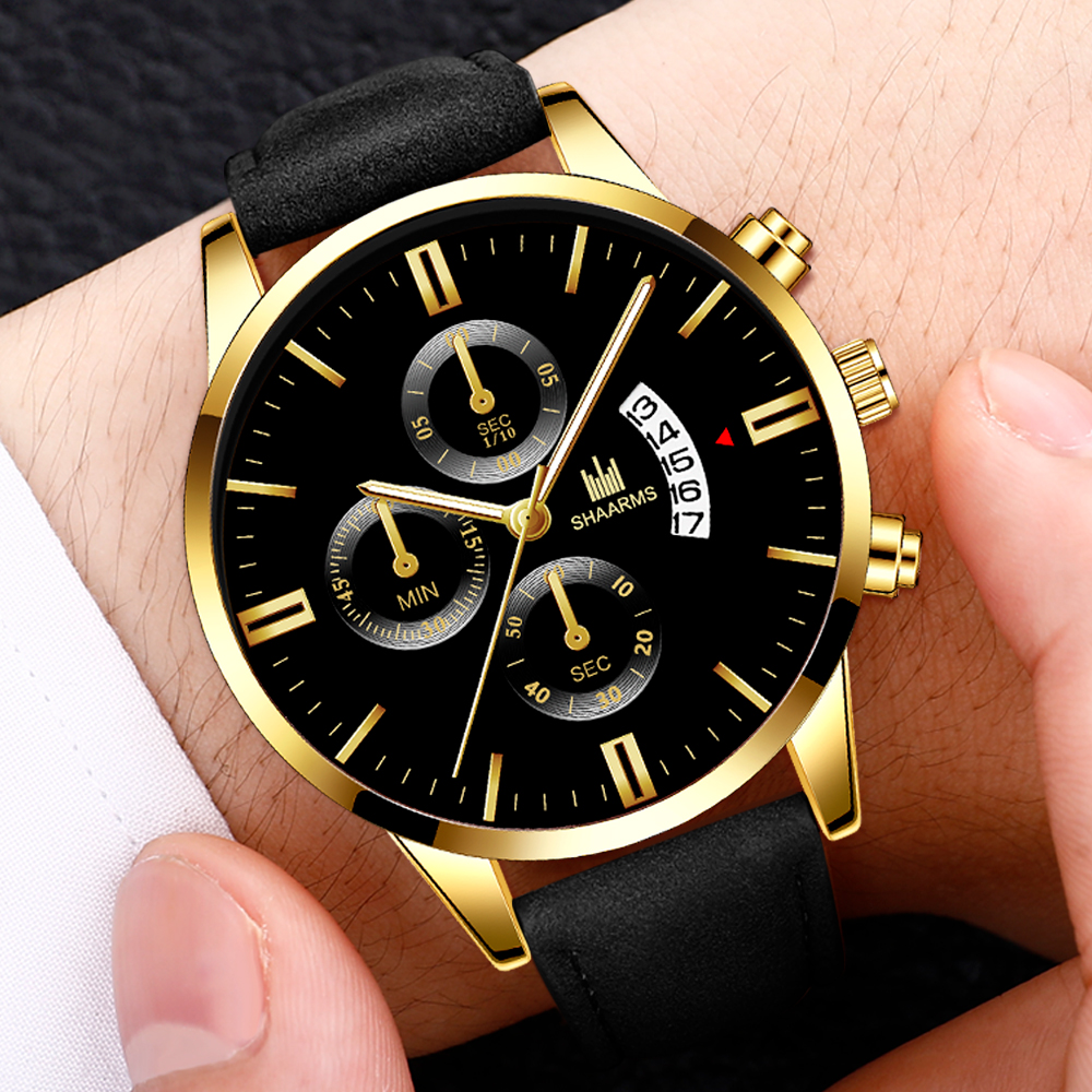 Fashion Military Sport Watch Men'S Luxury Leather Band Quartz Wristwatch Hot Sale Date Watches For Male Relogio Masculino