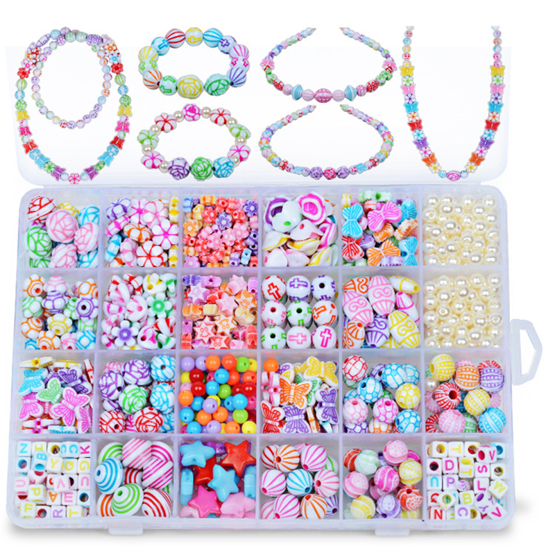 500 Pcs 24 Small Grid Children Beaded Toys DIY Handmade Girls Handmade Beads Wear Necklace Creative Bracelet Educational Toys