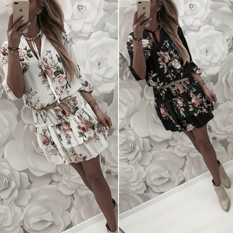 Женское летнее пляжное мини-платье с цветочным принтом в стиле бохо, рукав до локтя, v-образный вырез, гофрированное богемное пляжное платье ...