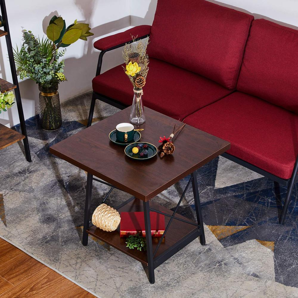 Square End Table Coffee Table For Living Room Large Size To 23.623.622.8 Inch Side Table With Black Iron Frame