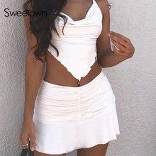 Sweetown preppy estilo ruched plissado saias mulher de cintura alta casual 90s mini saia senhora na moda 2020 y2k verão beachwear branco
