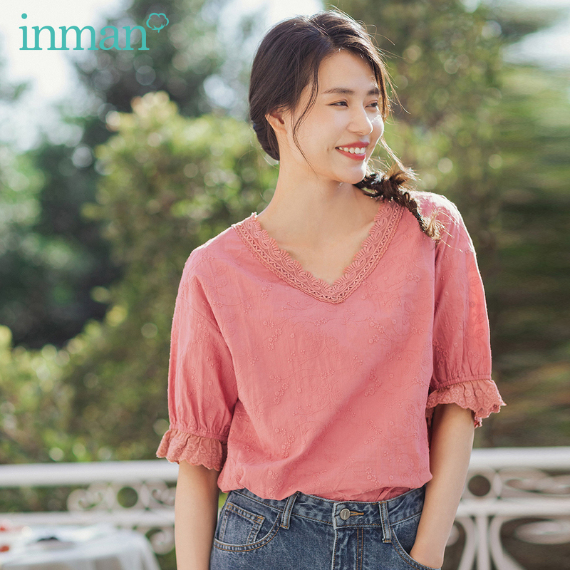 INMAN 2020 Summer New Arrival Literary Splicing Lace V-neck Pure Cotton Jacquard Weave Petaline Puff Sleeve Blouse