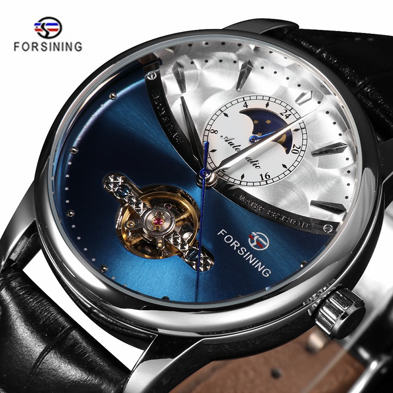 FORSINING Fashion Sport Classic Mechanical Watches Automatic Tourbillon Men's Genuine Leather Watch Relogio Masculino