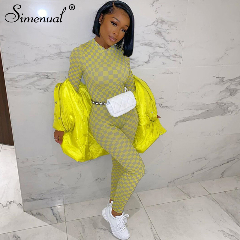 Simenual Fitness Active Wear Plaid Rompers Womens Jumpsuit Long Sleeve Fashion Casual Sporty Workout Spring Jumpsuits 2020 Slim