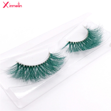 New 9D green mink color lashes wholesale natural long fluffy individual dramatic colorful false eyelashes Makeup Extension Tools