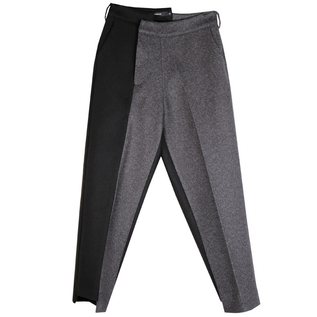 [EAM] High Waist Gray Contrast Color Split Long Trousers New Loose Fit Pants Women Fashion Tide Spring Autumn 1N328