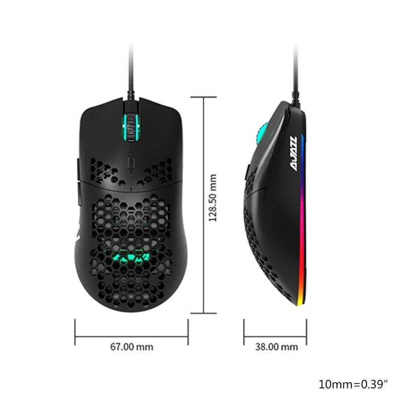 Aj390 peso leve com fio mouse oco-para