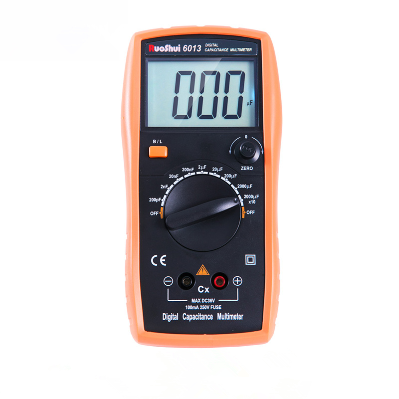 RuoShui 6013, medidor de capacitancia Digital de alta precisión, medidor portátil LCR de rango Manual, Capacitor de 2000 recuentos, probador 20000uF