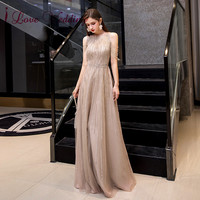 New Arrival 2020 Sexy Halter Crystal Beaded Formal Gown Sleeveless A Line Evening Dresses Long Robe De Soiree