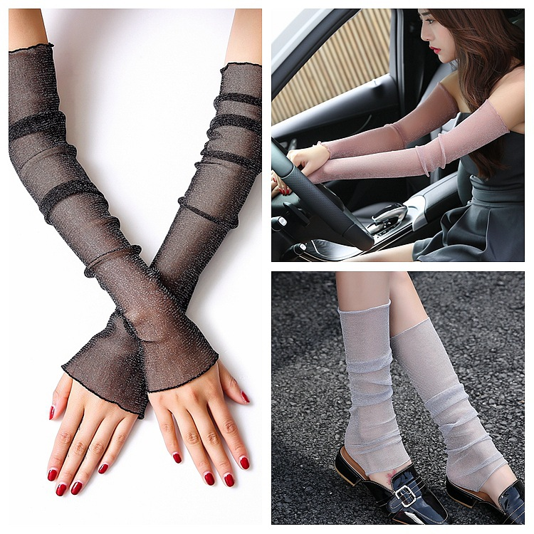 Mesh Arm And Leg Fits Sun Protection Sleeve 2019 New Sequins Lace Fashion Streetwear Pure Color Women Outdoor Fits 52cm Length