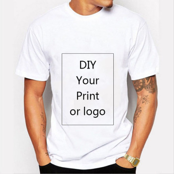 Customized Print T Shirt for Men DIY Your like Photo or Logo White Top Tees T-shirt Men's Size S-3XL Modal Heat Transfer Process image