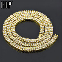 Hip Hop 2 Row CZ Iced Out Chain Rhinestone Bling Tennis Chain Necklace Micro Pave Cubic Zircon Copper Chain Gold Filled 30inch недорого
