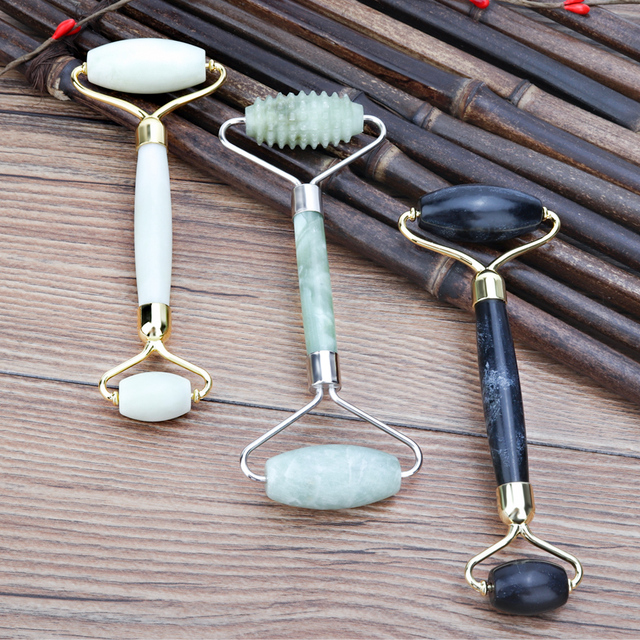 5 Styles Natural Jade Green Roller Face Lifting Slimming Black Green Real Jade Stone Facial Roller Beauty Massage Tool 5