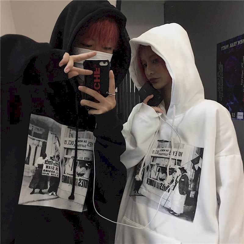 harajuku hoodies couple clothes gothic tops women comic print loose plus fleece hooded sweatshirt jackets streewear pullover