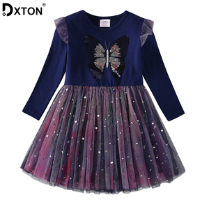 DXTON New Kids Winter Dress For Girls Sequined Baby Girls Dress Christmas Children Clothing Butterfly Long Sleeve Princess Dress(China)